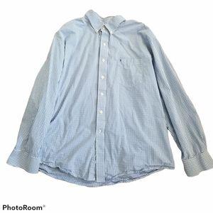 Men's Izod Blue and White Gingham Dress Shirt